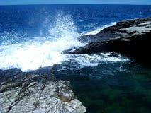 Piscina natural de Giola en la isla de Thassos, Grecia Imagen de archivo