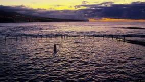 Piscina natural del mar almacen de metraje de vídeo