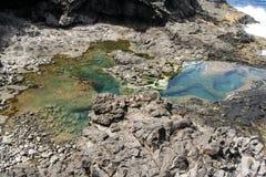 Piscina natural en el coastside de Lanzarote fotografía de archivo