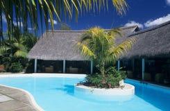 Piscina nell'isola dell'Isola Maurizio dell'hotel Fotografie Stock Libere da Diritti