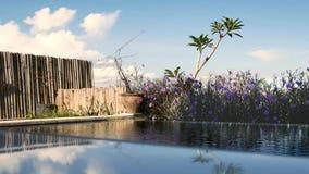 Piscina tropical no hotel de luxo vibração da água no vento video estoque