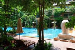 Piscina, vadios do sol ao lado do jardim e construções imagens de stock royalty free
