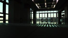 Piscina vuota dell'interno dell'albergo di lusso Concetto scuro della siluetta archivi video