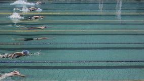 Piscina y nadador durante la competencia metrajes