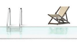 Piscina y silla de reclinación vacía ilustración del vector