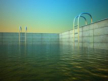 piscine 3d dans l'après-midi Images libres de droits