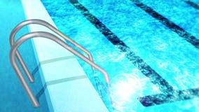 Piscine avec l'escalier Belle piscine de luxe Concept pendant des vacances d'?t? Relaxation et gu?rison Animation de boucle illustration libre de droits