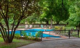 Piscine bleue et arbres verts photo libre de droits