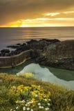 Piscine d'eau de mer au coucher du soleil photos libres de droits