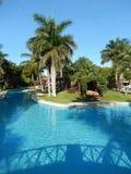 Piscine dans une station de vacances tropicale Photographie stock libre de droits