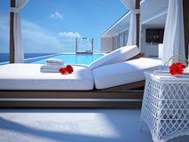 Piscine de luxe avec la fleur de ketmie rendu 3d Photo libre de droits