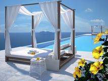 Piscine de luxe avec la fleur de ketmie rendu 3d Image libre de droits