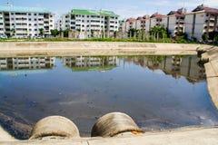 Piscine de traitement des eaux usées  Photo stock