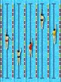 Piscine de vue supérieure avec le vecteur de nageurs d'athlète illustration de vecteur