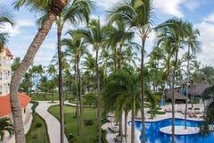 Piscine et palmiers tropicaux dans l'hôtel Photo stock