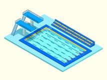 Piscine isométrique réaliste de sport Illustration créative du vecteur 3D Image stock