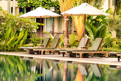 Piscine luxueuse dans un jardin tropical Image stock