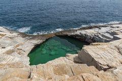 Piscine naturelle de Giola en île de Thassos, Grèce Photographie stock