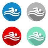 Piscine plate colorée réglée d'icônes de vecteur Image libre de droits