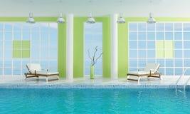Piscine verte de luxe Photographie stock