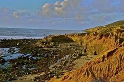 Piscines les explorant de marée le long de littoral Image stock