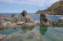 Piscines naturelles d'océans de Porto Moniz en île de la Madère Images libres de droits