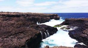 Piscines naturelles de lave, Buracona, Cabo Verde Photos stock