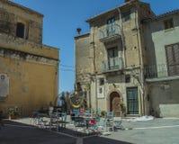 Pisciotta, Cilento, Italia Pequeño pueblo medieval Fotos de archivo libres de regalías