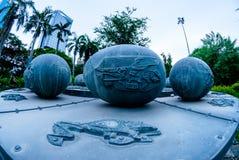 Piscis parkerar den astrologiska monumentet i Lumpini, Bangkok Arkivfoton