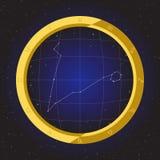 Piscis protagonizan el zodiaco del horóscopo en telescopio del ojo de pescados con el fondo del cosmos Imagen de archivo