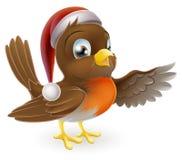 Pisco de peito vermelho do Natal do chapéu de Santa ilustração royalty free