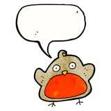 pisco de peito vermelho do Natal dos desenhos animados com bolha do discurso Foto de Stock