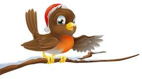 Pisco de peito vermelho do Natal na filial nevado ilustração stock