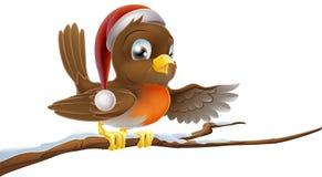 Pisco de peito vermelho do Natal no chapéu de Santa ilustração royalty free