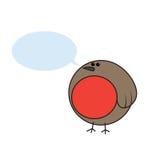 Pisco de peito vermelho dos desenhos animados com uma bolha do discurso ilustração royalty free