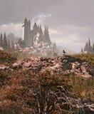 Pisco de peito vermelho e castelo medieval nas montanhas ilustração do vetor