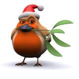 pisco de peito vermelho insolente de 3d Santa com visco ilustração do vetor