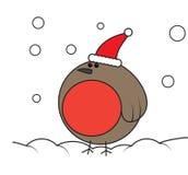Pisco de peito vermelho na neve ilustração royalty free