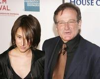 Pisco de peito vermelho Williams e filha Zelda Williams Imagem de Stock