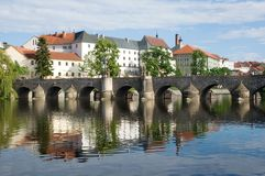 Pisek, Czech republic. Medieval Town Pisek and historic stone bridge over  river Otava in the Southern Bohemia, Czech Republic Stock Photo