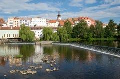 Pisek, Czech Republic. Medieval Town Pisek and historic stone bridge over  river Otava in the Southern Bohemia, Czech Republic Stock Photos