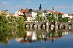 Pisek, Czech republic. Medieval Town Pisek and historic stone bridge over  river Otava in the Southern Bohemia, Czech Republic Stock Photography