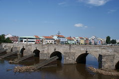 Pisek old stone bridge Stock Images