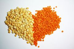 Piselli e cuore delle lenticchie Fotografia Stock
