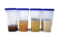 Piselli, grano saraceno, riso, miglio Immagine Stock