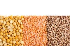 Piselli, lenticchie e grano saraceno tagliuzzati Immagini Stock