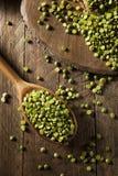 Piselli secchi rotti verdi organici crudi Fotografie Stock