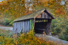 Pisgah covered bridge, In the autumn. A photograph of Pisgah covered bridge it is a wooden bridge with a shake shingle roof bridges was originally built in Stock Photography