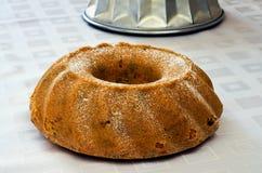 Piskad stekhet panna för kaka Arkivfoto