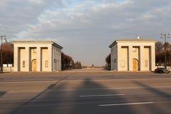 Piskarevskoe Memorial Cemetery. The central entrance. Saint Petersburg. Russia. Royalty Free Stock Photos